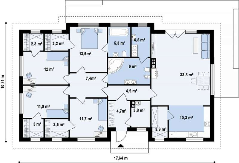 проекты одноэтажных домов до 200 кв м